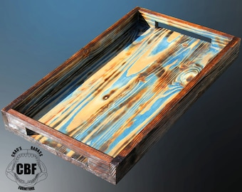 Rustic, Reclaimed Wood, Shou Sugi Ban Serving Tray 24""