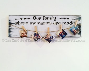 """Wooden wall sign  """"Our family, where memories are made"""""""