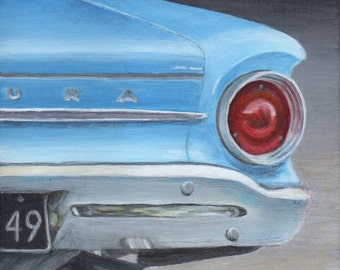 Classic Car Art, Blue Car Print, Limited Edition Fine Art Giclee from an Original Painting by Debbie Shirley
