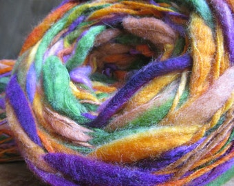 "Wool spun and dyed by hand at the spinning wheel ""fields of flowers"""