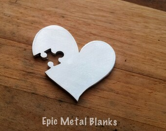 Aluminium Puzzle Heart Blank, Metal Blanks, Autism, Puzzle, Jigsaw Heart, Jewellery Stamping Blanks, Stamped Metal Blanks, Metal Stamping