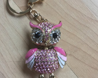 Owl Keychain Purse Charm With Rhinestones Crystals Ship From NY