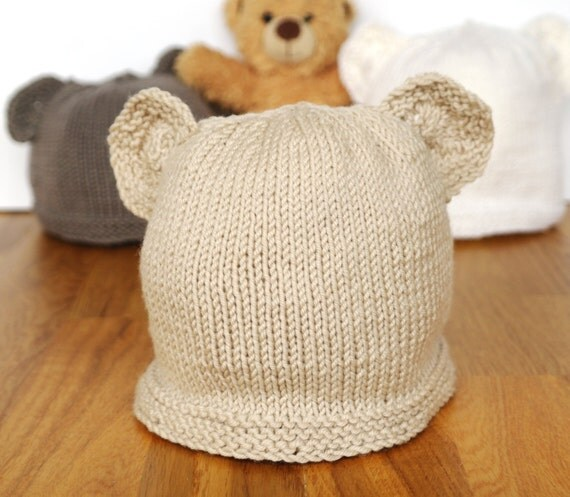 Knitting Pattern Baby Hat With Bear Ears : Easy knitting pattern teddy bear hat baby hat with ears
