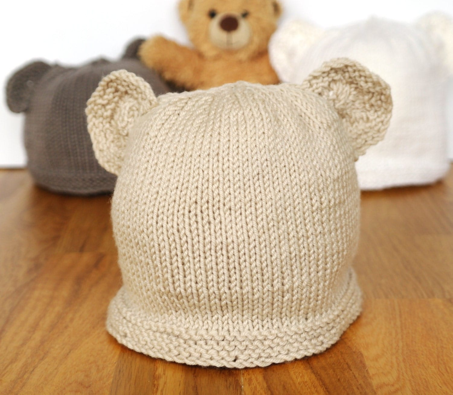 Easy baby knitting pattern teddy bear hat baby hat with zoom bankloansurffo Gallery