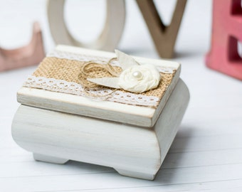 Lace White Ring Box Personalized Rustic Ring Box Holder Bearer Burlap Ivory Wedding Box Wedding Ring Pillow