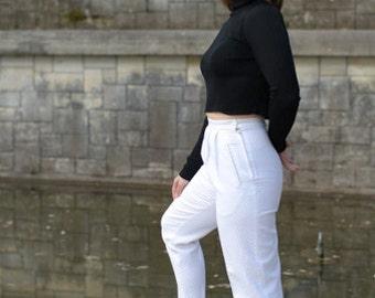 PANTS white VINTAGE cotton pique