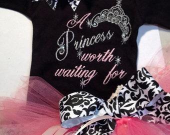 Princess Worth Waiting For Newborn Baby Girl Outfit Onesie Tutu FREE Hair Bow Tiara Crown