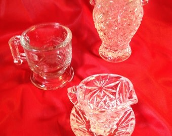 4 piece vintage miniature pressed glassware collection