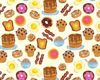 Breakfast Pattern Art Print - Bacon, Doughnut, Eggs, Pancakes