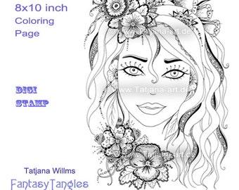 Susan - Fantasie Doodle/Zentangle Ausmalbild Digi Stamp Adult Coloring
