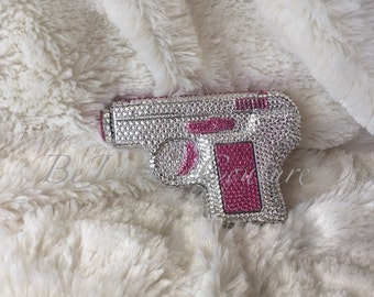4 oz Swarovski Embellished Pistol Flask with a holter