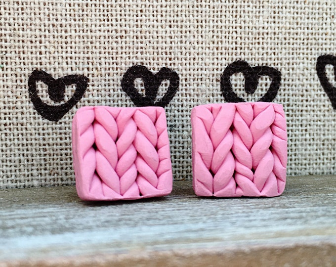 Original handmade earrings, polymer clay earrings, knitted earrings, pink stud earrings, geometric earrings, pink studs,