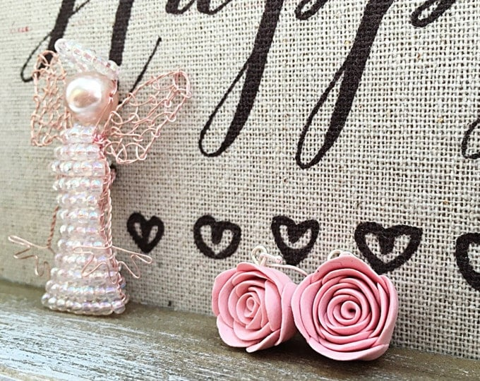 Silver rose earrings, Romantic silver earrings, Pink silver earrings, Handmade silver earrings, Fimo rose earrings, Blush pink rose earrings
