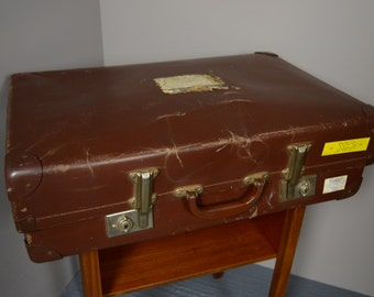 Vintage Retro Brown Suitcase Storage Prop
