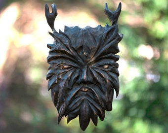 Green man, Wood spirit carving, wall hanging, fantasy sculpture wall hanging