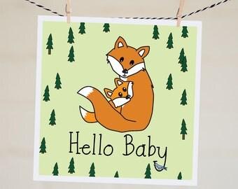Hello Baby Fox Card   New Baby Card   Cute Fox Card   Handmade   Baby Shower Card   Baby Boy Card   Baby Girl Card   Congratulations   Cute