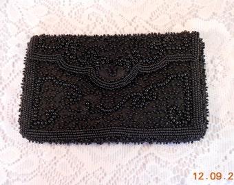 Walborg Made in Belguim Black Beaded Clutch Evening Bag Circa 1950's