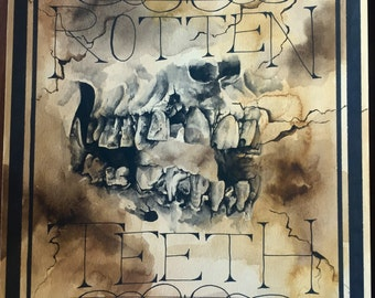 Apothecary Label -Canvas Print- Rotten Teeth