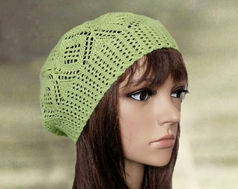 Summer lace beret, Womens cotton hat, Knitted summer hats, Green knitted beret, Knit beret summer, Womens lace beanie, Beret tam summer
