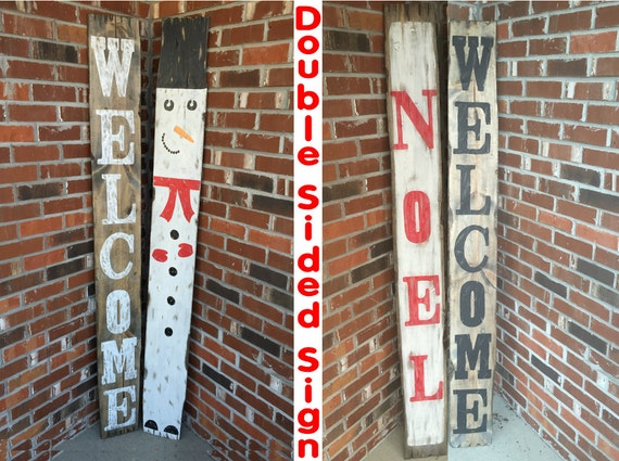 Rustic christmas signs rustic holiday signs rustic snowman for Large outdoor christmas signs
