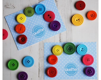 Button Rainbow Fridge Magnets - Handmade Button Fridge Magnets - Unique Keepsake Gift, set of 7