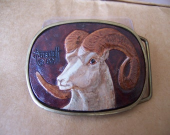 Vintage BBB Solid Brass Men's Belt Buckle with Hand Carved Leather Bighorn Sheep Insert