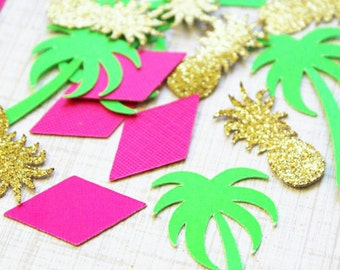Tropical Party Decorations. Tropical Party. Confetti. Tropical Party. Tropical Theme. Pineapple Theme. Pineapple Party. Luau Party.
