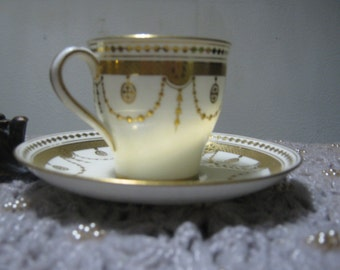 "Antique ""Minton"" Higgins & Seiter Gold Bone China Cup/Saucer-Exquisite"