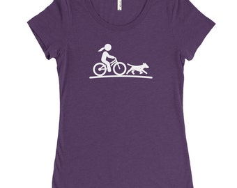 Woman On Bike With Dog Womens Tri-Blend T-Shirt