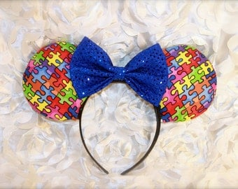 Autism Awareness- Mouse Ears- Minnie Mouse Ears- Mickey Mouse Ears- Bows- puzzel- Monogram