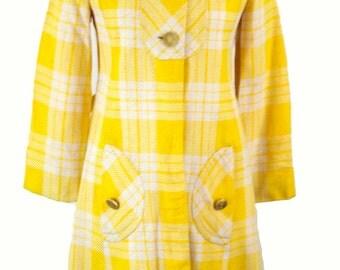 VINTAGE 1960S PLAID PEACOAT / 60s Small Plaid Coat