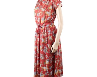 Vintage 70s Floral Terra Cotta Background with Belt Chiffon Midi Dress (M) >>> (sorry the first three pics are the wrong way around!)