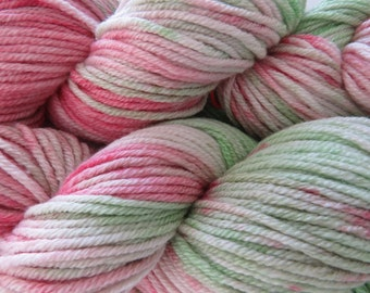 "Hand dyed 10ply Silky Merino Yarn.  Colourway ""Spring Garden"" stonewashed"