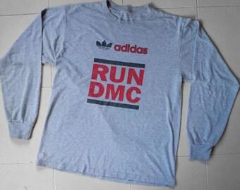 ADIDAS x RUN DMC usa american hip hop rap rock rare tee shirt