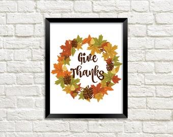 Give Thanks Printable Art Print, Fall Leaf, Autumn Leaf Print, Fall Printable, Home Decor, Download