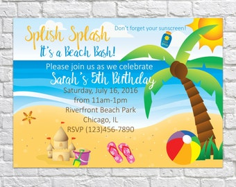 Beach Birthday Invites, Sand Castle Invitations, Kid's Birthday Invite, Beach Party Invitations, Pool Party, Ocean Birthday, Digital