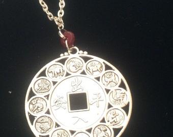 Chinese Zodiac Medallion, Pagan Necklace, Zodiac
