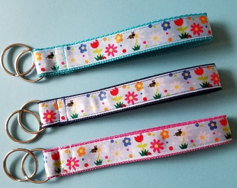 Springtime Floral ribbon key fob keychain wristlet