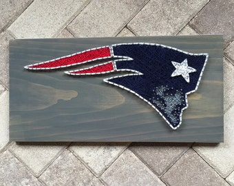 MADE TO ORDER - New England Patriots Football String Art Wooden Board