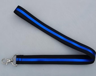 Police Thin Blue Line Key Fob OR Lanyard