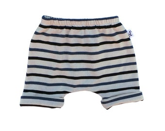 Striped Rolled Up Shorts / Blue Stripe / Kids Shorts / Baby Shorts / Summer Shorts