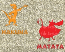 Friends / Siblings Hakuna Matata Lion King Timon and Pumba Shirt Decal Cutting File Set in Svg, Eps, Dxf, Png, Jpeg for Cricut & Silhouette
