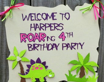 Dinosaur Birthday Sign,Girl Dinosaur Party, Girl Dinosaur Birthday Decorations,Dinosaur Baby Shower,Dinosaur Decorations,Dinosaur Banner