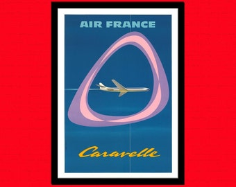 Printed on textured bamboo Art paper - Air France Travel Print Vintage Travel Poster Travel  Air France Poster Travel Plane Poster