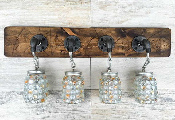 Rustic Industrial Modern Mason Jar Lights Vanity Light: Vanity Light Fixture 4 Mason Jar Gems Light Fixture By