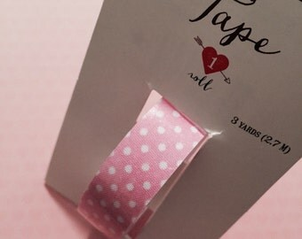 Pink with White Polka Dots Fabric Tape