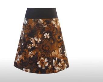 Rock 42 flowers brown black dress time A-line skirts, a line skirt, womans skirt, womens skirt