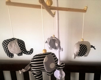 FREE SHIPPING!- Baby mobile- gorgeous elephant mobile in monochrome