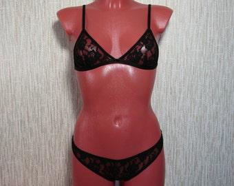Black lace lingerie set / bra / bralette / sexy lingerie