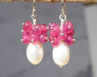 Ruby Earrings, Ruby and Pearl Earrings, Pearl and Ruby Earrings, Ruby Cluster Earrings, Ruby Pearl Cluster,1010